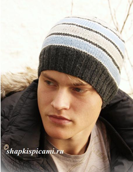 мужская вязаная шапка бини спицами в полоску