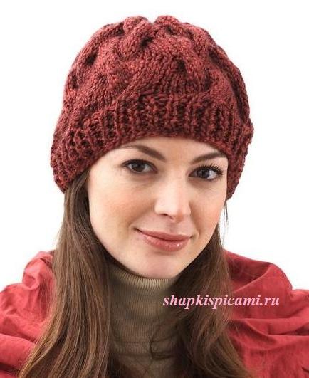 шапка с косами из толстой пряжи