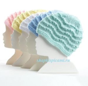 детские шапочки спицами, связанные волнистым узором