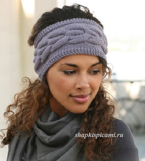 женская вязаная повязка на голову спицами