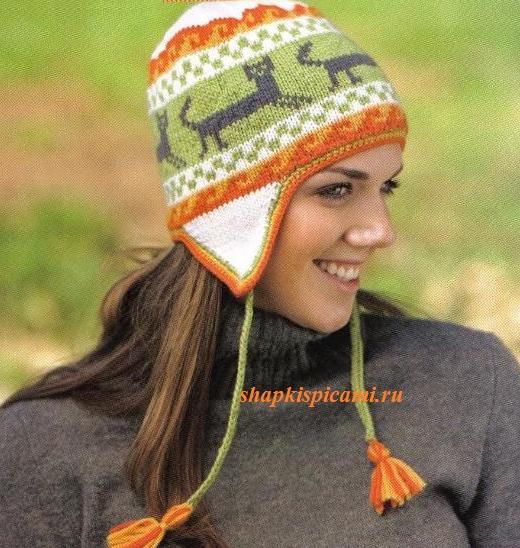 женская шапка с жаккардовым узором из кошек