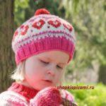 детский вязаный берет с сердечками спицы
