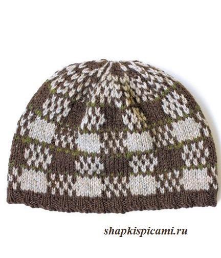 клетчатая вязаная шапка для мужчины