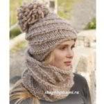 толстая вязаная шапка с помпоном спицами и шарф воротник