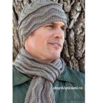 мужская вязаная шапка и шарф спицами с красивым узором