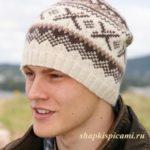 мужская вязаная шапка спицами с рисунком