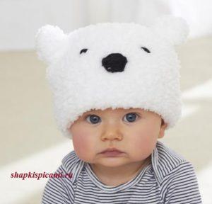 вязаная шапка для малыша медвежонок
