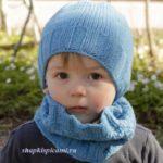 вязаная шапка для мальчика и шарф воротник спицами