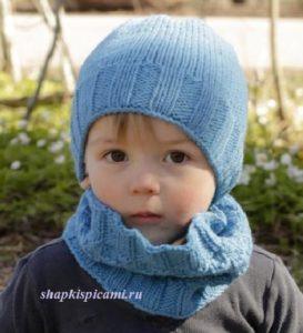 вязаная шапка для мальчика спицами и шарф воротник