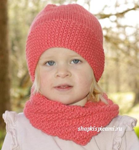 вязаная шапкаа и снуд для девочки спицами