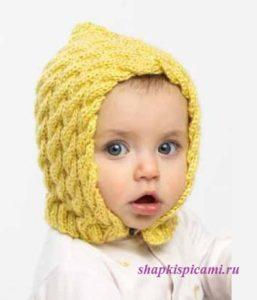 вязаная шапочка для малыша на застежке с пуговицей