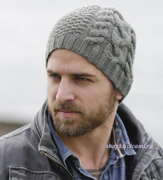 мужская вязаная шапка с аранским узором