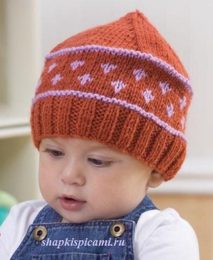простая вязаная шапка спицами для малыша с рисунком