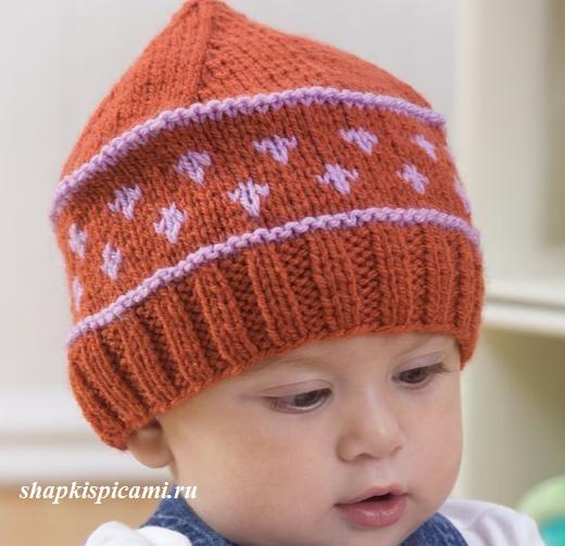 вязаная шапочка на ребенка полгода полтора года спицами