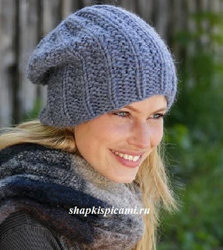толстая вязаная шапка бини для женщин