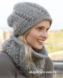 женская вязаная шапка и шарф-воротник спицами из толстой пряжи