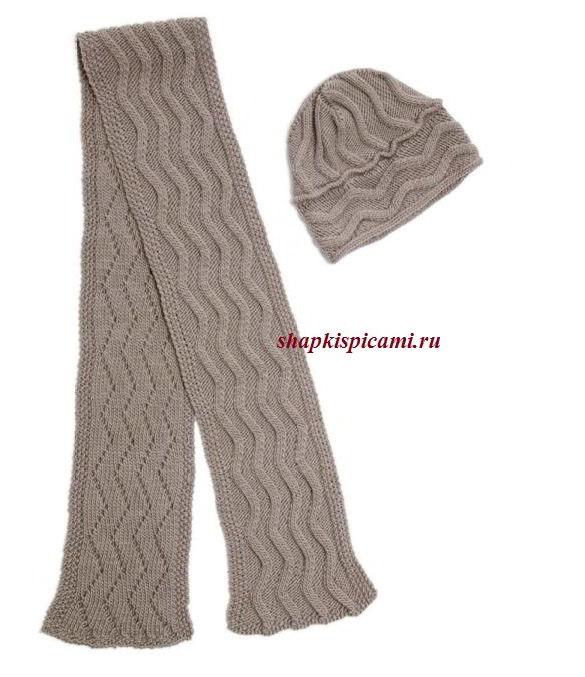 мужской вязаный комплект спицами из шапки и шарфа