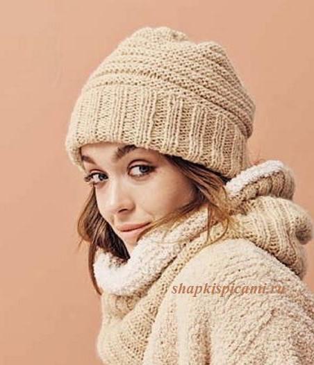 женская вязаная шапка спицами с отворотом для начинающих