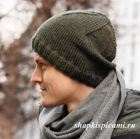 самая обычная мужская шапка спицами