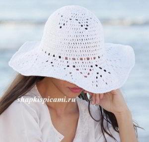 красивая летняя вязаная шляпа крючком