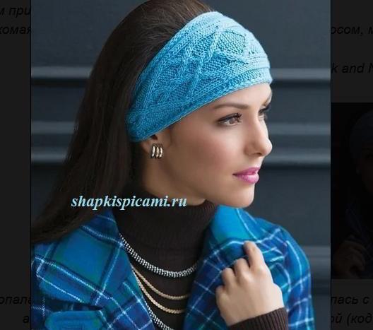 красивая вязаная повязка на голову с аранским узором спицы