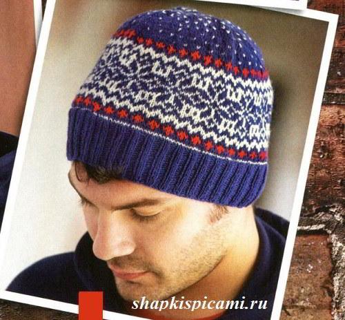 мужская вязаная шапка спицами с норвежским узором