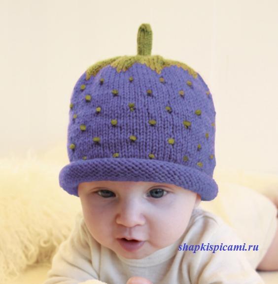вязаная шапочка спицами для малышей ежевичка