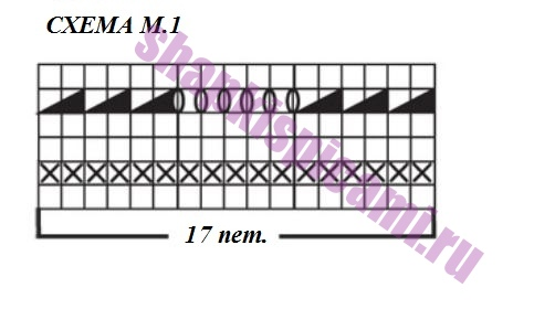 схема вязания узора шеврон